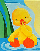 Nursery Room Art Prints Paintings - Sitting Duck by Lisa Marie