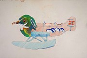Biplane Drawings - Sitting Duck by Virginia Stuart