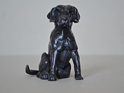 Lab Sculptures - Sitting Labrador by Edward  Waites