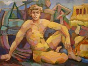 Alfons Niex - Sitting naked man