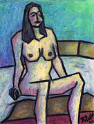 Oil Pastel Prints Pastels Framed Prints - Sitting Nude Framed Print by Kamil Swiatek