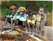 Black History Mixed Media - Sitting On a Log by Charles Shoup