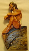 Native American Sculpture Prints - Sitting on a Rock Print by Russell Ellingsworth