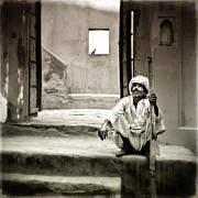 Sitting On Stairs Print by Mostafa Moftah