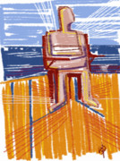 Contemplative Digital Art Posters - Sitting on the Dock Poster by Russell Pierce