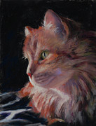 Cat Portraits Pastels Prints - Sitting Pretty  Print by Billie Colson
