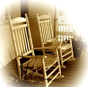 Rocking Chairs Framed Prints - Sitting Pretty Framed Print by Trish Clark