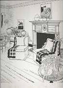 Country Cottage Drawings Prints - Sitting Room Print by John Brightwell IV