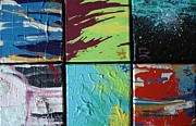 Maroon Mixed Media Originals - Six Abstracts by Lisa Kramer