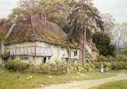Rustic House Framed Prints - Six Bells Hollingbourne Kent  Framed Print by Helen Allingham