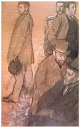 Men Pastels Posters - Six Friends of the Artist Poster by Edgar Degas