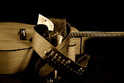Music Photos - Six Gun in Holster and Guitar by M K  Miller