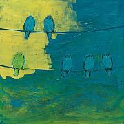 Bird On A Wire Prints - Six in Waiting Break of Day Print by Jennifer Lommers