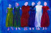 Posh Painting Prints - Six Ladies in Dresses Print by Simon Bratt Photography