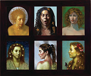 Goddess Mythology Painting Prints - Six Print by Lyndall Bass