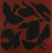 Flock Of Birds Painting Metal Prints - Six Ravens Metal Print by Sophy White