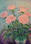 Sizes Painting Prints - Six Roses Print by Karen Francis