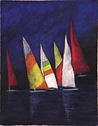 Yellow Sailboats Originals - Six Sailing Ships by Annette Kagy