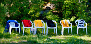 Park Row Mixed Media Prints - Six Summer Chairs Print by Ari Salmela