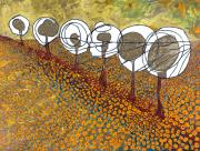 Perspective Paintings - Six Trees In Poppy Field by Dietrich ralph  Katz