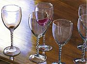 Glasses Painting Originals - Six Wine Glasses by Catherine G McElroy