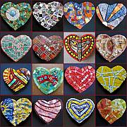 Valentine Glass Art - Sixteen Hearts by Gila Rayberg