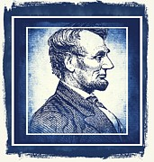 Man Cave Mixed Media Posters - Sixteenth President Blue Poster by Angelina Vick