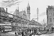 Sixth Avenue El Train 1878 Print by Omikron