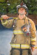 Fireman Paintings - Sizing Up by Paul Walsh