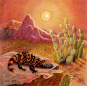 Cactus Art Drawings Posters - Sizzling Heat Poster by Marilyn Smith