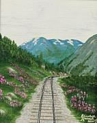 Railroad Snow Paintings - Skagway Railroad by Elizabeth Hannah