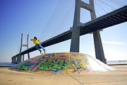 Action Prints - Skate Under Bridge Print by Carlos Caetano