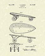 Antique Skates Drawings Prints - Skateboard Coaster Car 1948 Patent Art  Print by Prior Art Design
