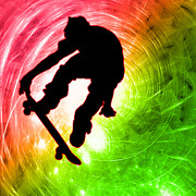 Athletics Extreme Hobby Action Male Men Teen Teens Prints - Skateboarder in a Psychedelic Cyclone Print by Elaine Plesser