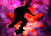 Figures Silhouettes Young Sport Grunge Athletes Prints - Skateboarder in Cosmic Clouds Print by Elaine Plesser