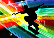 Extreme Digital Art Prints - Skateboarder in Criss Cross Lightning Print by Elaine Plesser