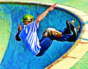 Athletics Extreme Hobby Action Male Men Teen Teens Prints - Skateboarding in the Bowl Print by Elaine Plesser