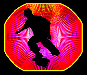Figures Silhouettes Young Sport Grunge Athletes Prints - Skateboarding on Fluorescent Starburst Print by Elaine Plesser