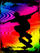 Figures Silhouettes Young Sport Grunge Athletes Prints - Skateboarding on Rainbow Grunge Background Print by Elaine Plesser