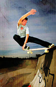 Figures Silhouettes Young Sport Grunge Athletes Prints - Skateboarding the Wall  Print by Elaine Plesser