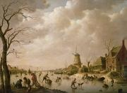 Windmill Posters - Skaters on a Frozen Canal Poster by Hendrik Willem Schweickardt