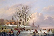 Snowfall Paintings - Skaters on a Frozen River before Windmills by Dutch School