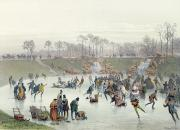 Lithograph Painting Prints - Skaters on the Lake at Bois de Boulogne Print by Ice Skaters on the Lake at Bois de Boulogne