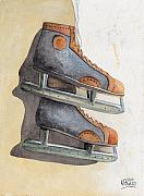Ice Skates Paintings - Skates by Ken Powers