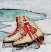 Ice Skates Paintings - Skating Dreams by Enzie Shahmiri