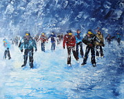Skating Paintings - Skating in the snowfall by Claudia Mandl