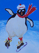 Skating Paintings - Skating Penguin by Diane Ursin