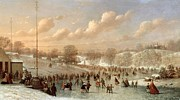Blizzard New York Framed Prints - Skating Scene Framed Print by Johann Mongels Culverhouse