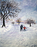 Skating Paintings - Skating with Dad by Celine Philibert