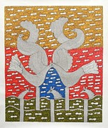 Gond Paintings - SKD 310 Birds by Suresh Kumar Dhurve